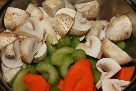 Carrots, celery and mushrooms