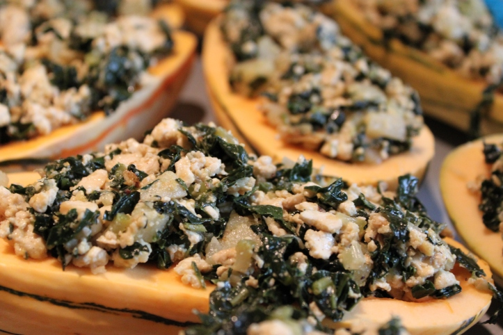 Delicata Squash stuffed with kale, tofu and potatoes